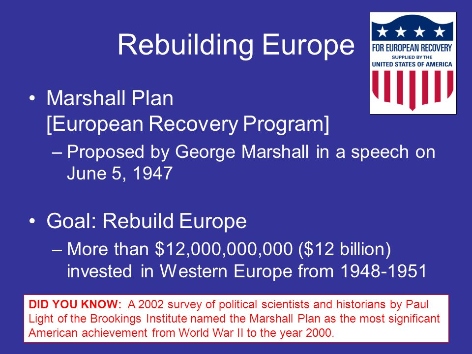 Rebuilding Europe Marshall Plan [European Recovery Program]